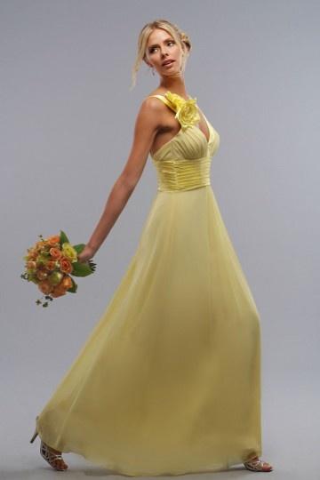 Vestido de madrinha amarelo decorado de flor para decote l V longo coluna em Chiffon