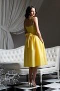 Sencillo Vestido de Dama de Honor de Tafetán con Tirantes Espaguetis Fajines Plisado Corte A 2012