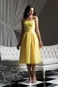 Schlichtes A-Linie gelbes Knielanges Brautjungfernkleider