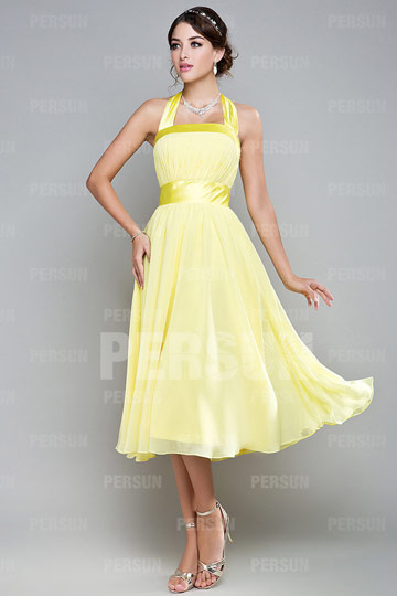 Dressesmall Cute Ribbon Pleats Halter Chiffon Yellow A line Tea length Formal Bridesmaid Dress