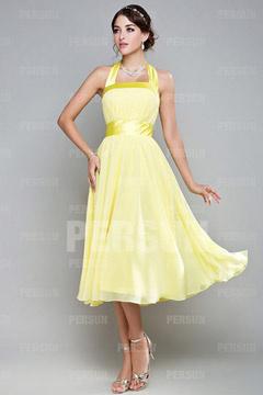 Cute Ribbon Pleats Halter Chiffon Yellow A line Tea length Formal Bridesmaid Dress