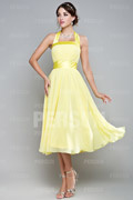 Cute Ribbon Pleats Halter Chiffon Yellow A line Tea length Formal Bridesmaid Dress