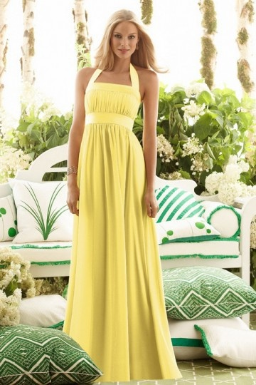 long yellow bridesmaid dress