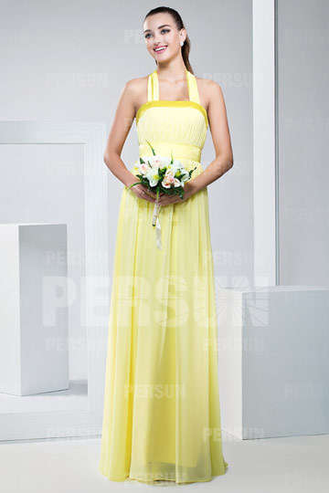 Cute Ribbon Pleat Halter Long A line Chiffon Yellow Bridesmaid Dress