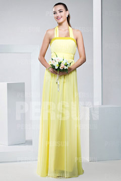 Macclesfield Cute Halter Ribbon Pleats Floor length Bridesmaid Gown