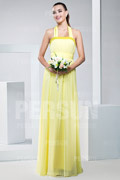 Cute Ribbon Pleats Halter Chiffon Yellow A line Formal Bridesmaid Dress