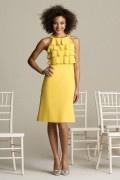 Lindo Vestido de Dama de Honor de Gasa Amarillo con Escote Redondo Alto Escalonado Corte A
