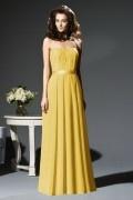 Sweetheart Yellow Pleats Long Elegant Chiffon Bridesmaid Dress