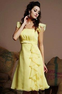 Lindo Vestido de Dama de Honor Corto de Gasa con Escote Cuadrado Volantes Corte A 2012