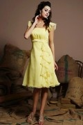 Cute Ruffles Square Neck Chiffon A line Short Formal Bridesmaid Dress