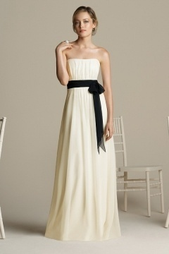 Simple A Line Strapless Sash Floor Length Ivory Bridesmaid Dress