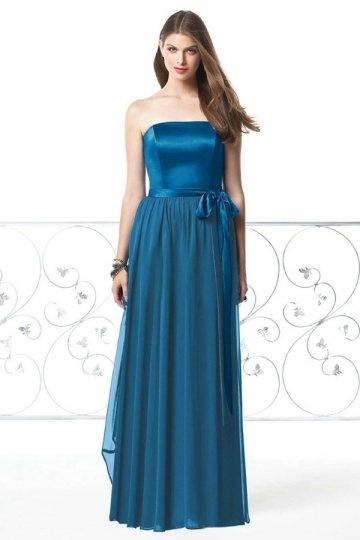Langes blaues schlichtes Brautjungfernkleider 2015