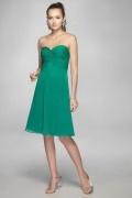 Dulce Vestido de Dama de Honor de Gasa Verde con Escote Corazón Corte A