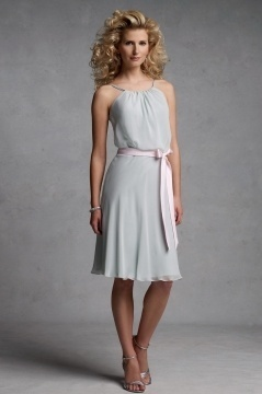 Chic Sleeveless Chiffon A Line Sash Knee Length Gray Bridesmaid Dress