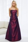 Elegante Vestido de Dama de Honor Largo con Volante Corte A Burdeos