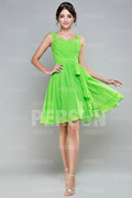 A line Strap Ruched Knee Length Green Bridesmaid Dress