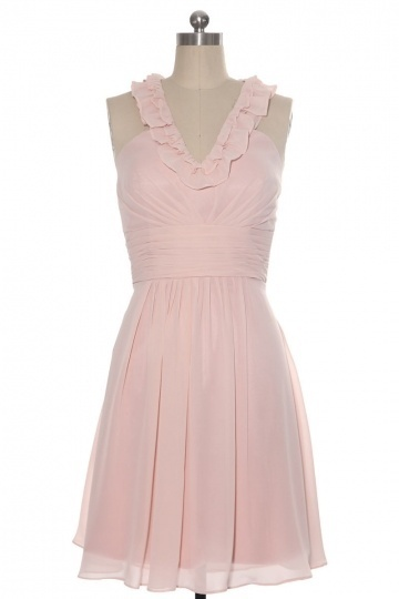 A line Halter Ruffle Knee Length Bridesmaid Dress