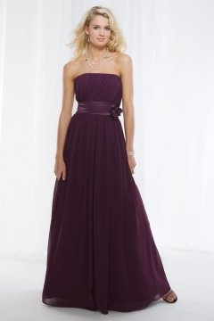 Sexy Strapless A Line Chiffon Flower Long Purple Bridesmaid Dress