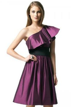 Cheap One Shoulder Ruffles Taffeta Sleeveless Knee Length Purple Bridesmaid Dress