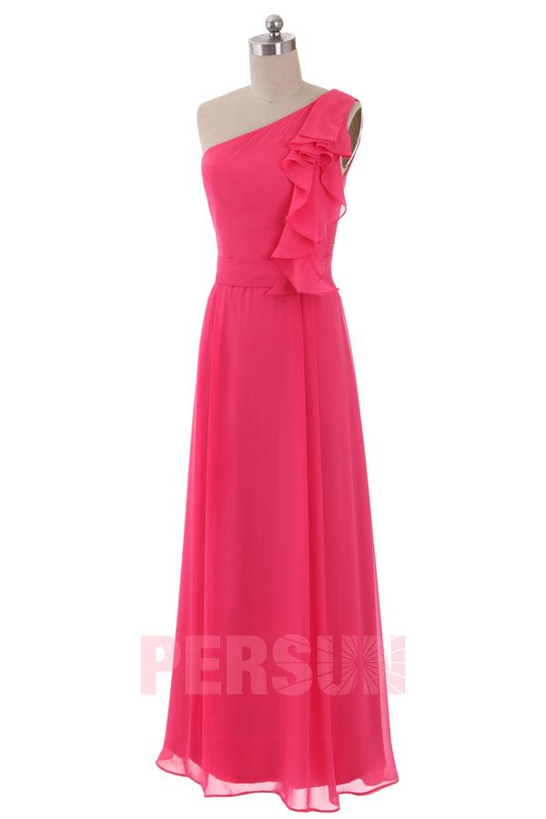 Ein-Schulter A-Linie Bodenlang Rüsche chiffon rosa Brautjungfernkleid