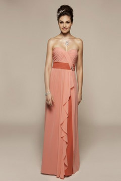 Westhoughton Chiffon Strapless Ruffles Floor length Bridesmaid Dress