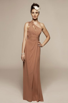Westminster Chiffon Scoop One Shoulder Ruffles Column Bridesmaid Gown