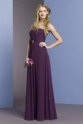 Sexy Pleats Beaded Strapless Chiffon A line Long Bridesmaid Dress
