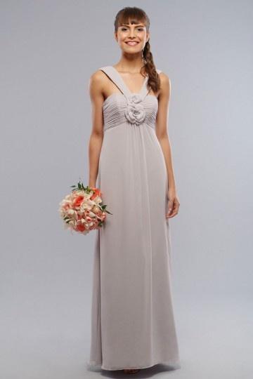Dressesmall Elegant Applique Ruching V neck Chiffon A line Formal Bridesmaid Dress