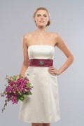 Elegant Beading Ribbon Strapless Satin White A line Formal Bridesmaid Dress