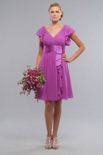 Sexy Ruched Ruffles V Neck Chiffon Knee length Bridesmaid Dress