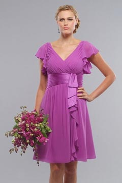 Whaley Bridge Sexy Chiffon V neck Ruffles Knee length Bridesmaid Gown