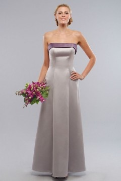 Whitby Satin Strapless Ribbon A line Silver Bridesmaid Dress