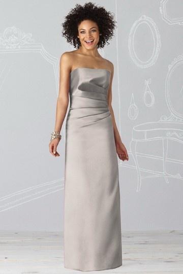 Dressesmall Satin Strapless Ruching Column Long Bridesmaid Dress