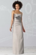 Satin Strapless Ruched Column Long Bridesmaid Dress