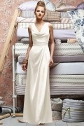 Pleats V neck Chiffon Cowl A line Formal Bridesmaid Dress
