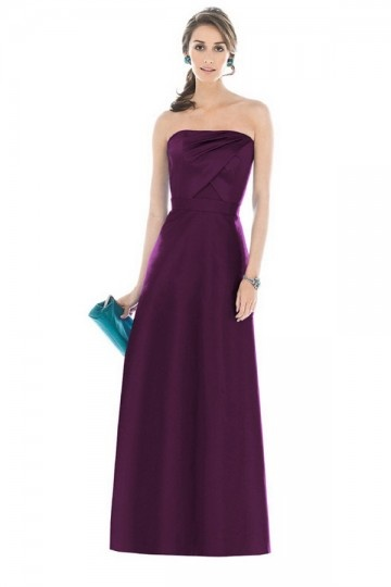 Ruched Strapless Satin Purple A line Bridesmaid Dress