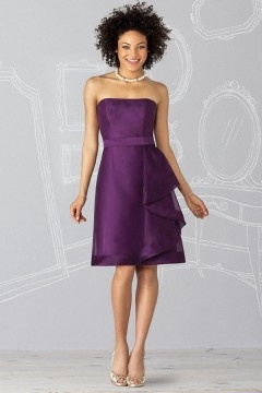 Wigston Organza Strapless Ribbon Knee length A line Bridesmaid Dress