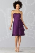 Ribbon Strapless Organza Purple A line Formal Bridesmaid Dress