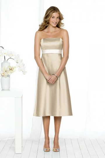 Dressesmall Simple Ribbon Strapless Satin Tea length Formal Bridesmaid Dress