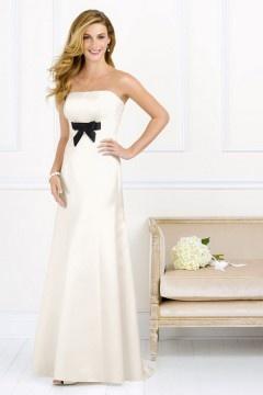 2014 Taffeta Strapless Ribbon Bow Long A line Bridesmaid Dress