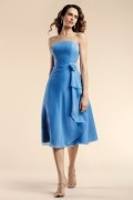 Applique Ruffles Strapless Chiffon Blue tone Tea length Formal Bridesmaid gown