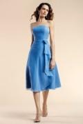 Applique Ruffles Strapless Chiffon Blue A line Bridesmaid Dress