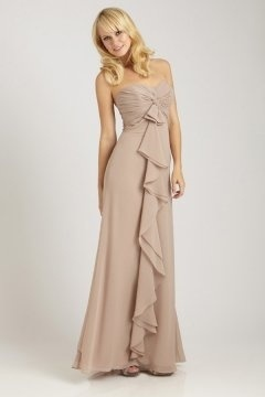 A line Strapless Ruched Ruffle Floor Length Nude Bridesmaid Dress