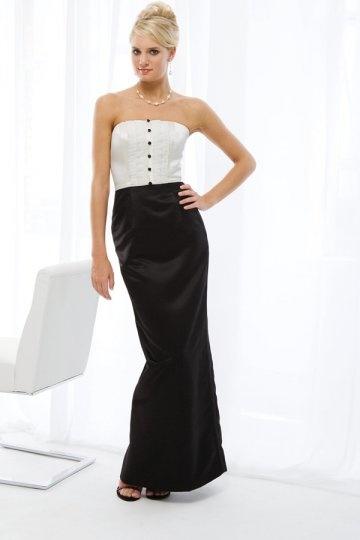 Vestido de madrinha preto e branco longo apertado Sem alça com botões