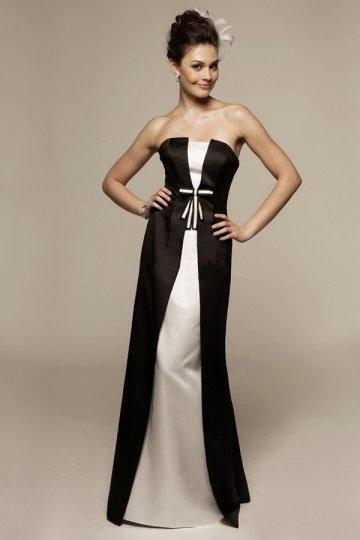 Vestido de madrinha preto e branco longo elegante linha-A Sem alça