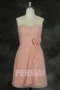 Knee length Dress for Wedding in Skin Pink Chiffon with Flower