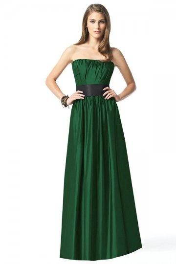 111f856736 Sencillo Vestido de Dama de Honor Largo con Strapless Volante Flores y  Tejido Verde Oscuro
