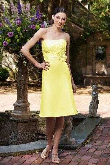 Vestido de madrinha linha-A pregueado Sem alça longos joelhos