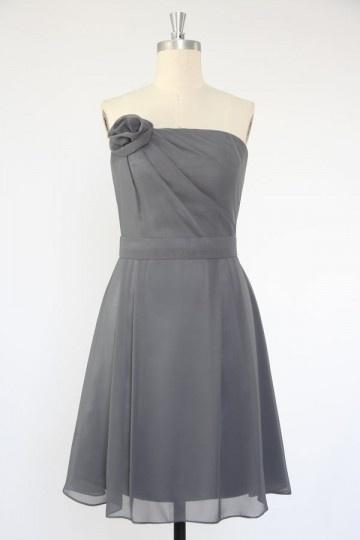 Vestido de madrinha linha-A Sem alça longos joelhos com flor