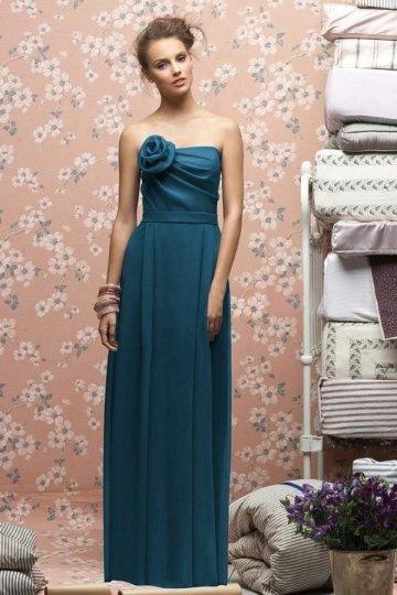 Vestido de madrinha longo pregueado Sem alça com flor